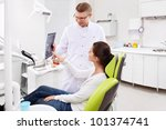 Dentist patient shows an X-ray - stock photo