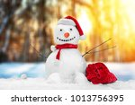 snowman with christmas gift on... | Shutterstock . vector #1013756395