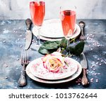 festive table setting for... | Shutterstock . vector #1013762644