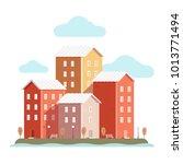 vector city houses red | Shutterstock .eps vector #1013771494