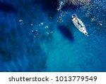aerial shot of beautiful blue... | Shutterstock . vector #1013779549