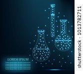 polygonal chemistry glassware ... | Shutterstock .eps vector #1013782711