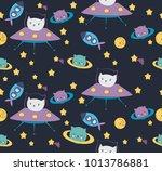 fun cat astronaut in space... | Shutterstock .eps vector #1013786881