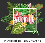 hello summer. lettering on a... | Shutterstock .eps vector #1013787541