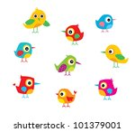 Stock vector cute birds 101379001