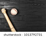 closeup of baseball bat and... | Shutterstock . vector #1013792731