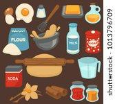 baking ingredients and tools... | Shutterstock .eps vector #1013796709