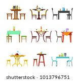 tables and chairs vector icons