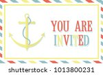 marine card with an anchor and... | Shutterstock .eps vector #1013800231
