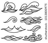 waves  water set. hand drawn... | Shutterstock .eps vector #1013800975