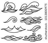 waves  water set. hand drawn... | Shutterstock .eps vector #1013800975