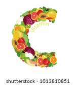 vitamin c  ascorbic acid . the... | Shutterstock .eps vector #1013810851
