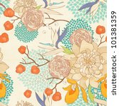 Stock photo seamless floral pattern on paper textured background 101381359