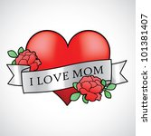 mother's day heart with roses... | Shutterstock .eps vector #101381407