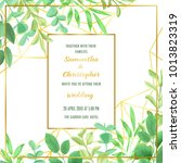 floral wedding invitation with... | Shutterstock .eps vector #1013823319