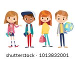vector set of kids | Shutterstock .eps vector #1013832001
