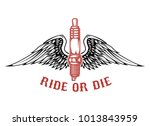 born to ride. spark plug with... | Shutterstock .eps vector #1013843959