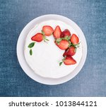 strawberry cake top view | Shutterstock . vector #1013844121