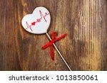 heart shaped gingerbread cookie ...   Shutterstock . vector #1013850061