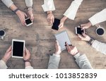 people are holding their... | Shutterstock . vector #1013852839