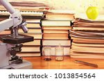 microscope and test specimens...   Shutterstock . vector #1013854564