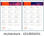 set of two calendar posters.... | Shutterstock .eps vector #1013856541
