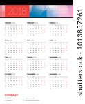 calendar poster for 2018 year.... | Shutterstock .eps vector #1013857261