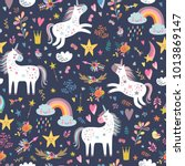 seamless pattern with unicorns | Shutterstock .eps vector #1013869147