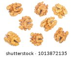 walnut kernels isolated on... | Shutterstock . vector #1013872135