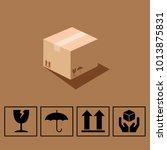 fragile symbol on cardboard... | Shutterstock .eps vector #1013875831