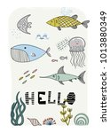 cartoon marine underwater... | Shutterstock .eps vector #1013880349