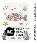 cartoon marine underwater... | Shutterstock .eps vector #1013880379