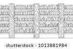 hand drawn books on bookshelf...   Shutterstock .eps vector #1013881984
