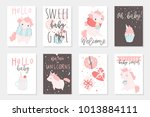 cute little pink unicorn hand... | Shutterstock .eps vector #1013884111