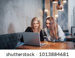 one on one meeting.two young... | Shutterstock . vector #1013884681