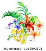 watercolor flowers and leaves.... | Shutterstock . vector #1013893801