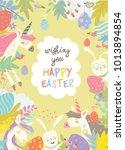 cute frame composed of easter...   Shutterstock .eps vector #1013894854
