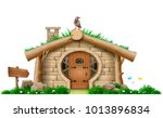 fabulous forest hut . a little... | Shutterstock .eps vector #1013896834