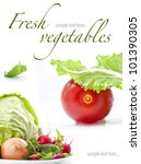 Set Of Fresh Vegetables With...