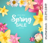 spring sale cute background... | Shutterstock .eps vector #1013911849