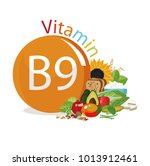 vitamin b9  folate . food...   Shutterstock .eps vector #1013912461