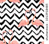 Abstract seamless pattern with exotic flamingo on striped chevron background. Summer watercolor print. Vector illustration | Shutterstock vector #1013918485