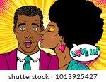 wow couple. happy african... | Shutterstock .eps vector #1013925427