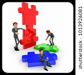 3d man build puzzle builing... | Shutterstock . vector #1013926081