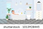 a young girl is washed in a... | Shutterstock .eps vector #1013928445
