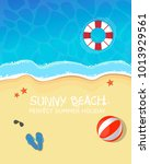 top view of a sunny beach.... | Shutterstock .eps vector #1013929561