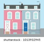 bright pink and blue georgian... | Shutterstock .eps vector #1013932945