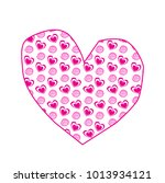 cute big pink hand drawn heart... | Shutterstock .eps vector #1013934121
