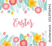 easter greeting card with... | Shutterstock .eps vector #1013936941