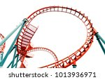 roller coaster on white... | Shutterstock . vector #1013936971